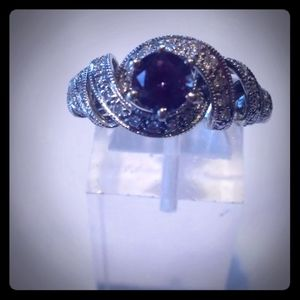 14K White Gold Alexandrite & Diamond Ring